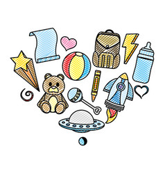 doodle baby toys nice things style vector image