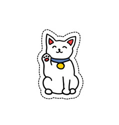 doodle icon sticker maneki neko isolated on vector image