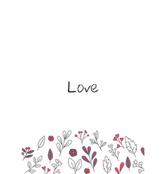 doodle valentine leaves and flowers frame vector image