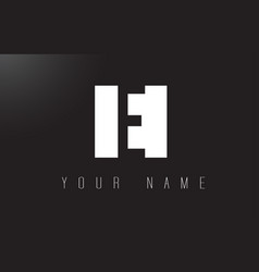 e letter logo with black and white negative space vector image