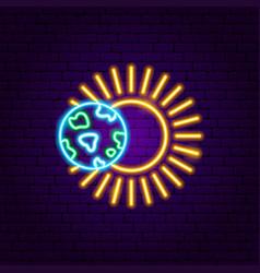 earth sun neon label vector image