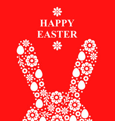 easter greeting card with decorative rabbit ears vector image