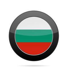 flag of bulgaria shiny black round button vector image