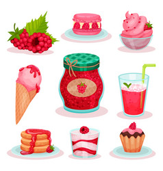 flat set of raspberry food and drink ice vector image