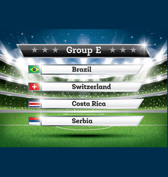 football championship group e soccer world vector image