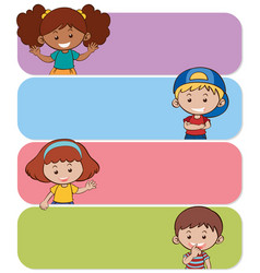 Four banners with happy kids vector