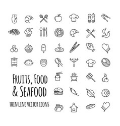 Fruits food and seafood outline set of vector