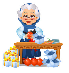 Funny animated old lady touches on christmas vector