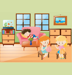 Girl sewing and boy napping in living room vector