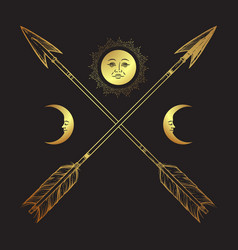 Gold crossed arrows with crescents and full moon vector