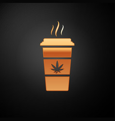 Gold cup coffee with marijuana or cannabis leaf vector