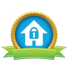 Gold lock house logo vector image