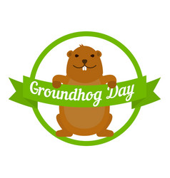 groundhog day icon flat style vector image