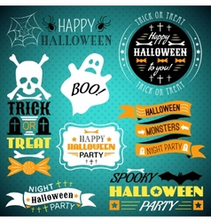 Halloween vintage set - labels ribbons vector image
