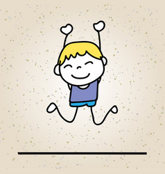 hand drawing abstract happy cute kid vector image