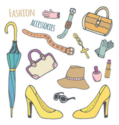 hand drawn beautiful collection of trendy women vector image