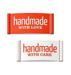 Handmade with love and care labels vector