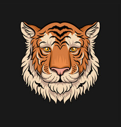 Head of tiger face of wild animal hand drawn vector