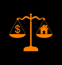 house and dollar symbol on scales orange icon on vector image