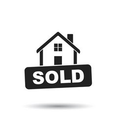 House with sold sign flat on white background vector