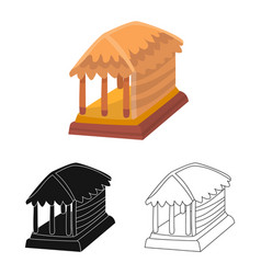 Hut and house icon set of vector