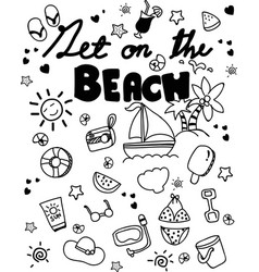 Icon set summer beach holidays travel vacation vector