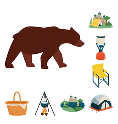 Isolated object picnic and nature icon set of vector