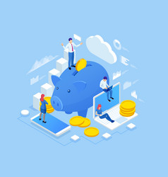 Isometric people and business concept vector