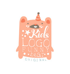 Kids logo funny bear original baby shop label vector