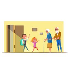Kids visit grandparents flat vector