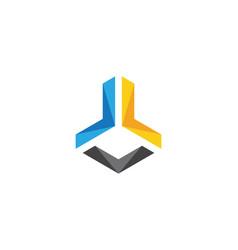 l logo hexagon icon vector image