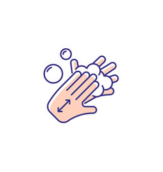 Lathering back of hands rgb color icon vector