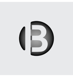 Letter b made wide white stripes vector