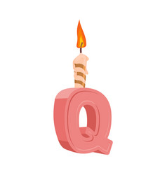 letter q birthday font letter and candle vector image