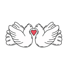 loving pair pigeons romantic birds isolated on vector image