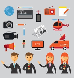 Man and Woman Reporter with News Flat Icons Set vector