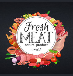 Meat products with vegetables vector