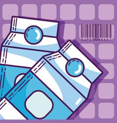 Milk box super market products vector