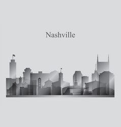 nashville city skyline silhouette in grayscale vector image