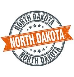 North Dakota red round grunge vintage ribbon stamp vector