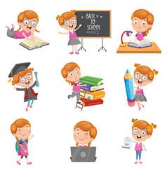 of little school girl vector image
