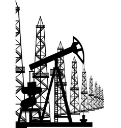 Oil pump and oil rigs vector