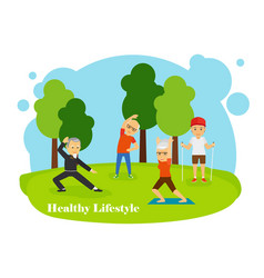 Old people healthy lifestyle vector