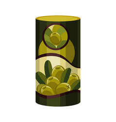Olive green metal jar canned green olives vector