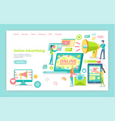 online advertising smartphone and laptop screen vector image