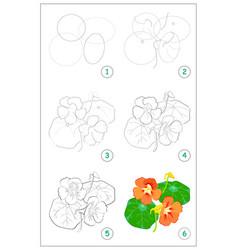 Page shows how to draw step step beautiful vector