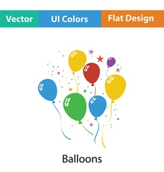 Party balloons and stars icon vector image