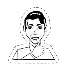 Portrait man facial expression black and white vector