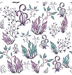 Purple Green Seaweed Seamless Pattern vector image