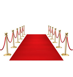 Red carpet with golden barrier fencing realistic vector